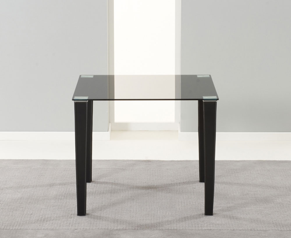 Edina black glass pu leather dining table 90cm 2 for Black glass dining table