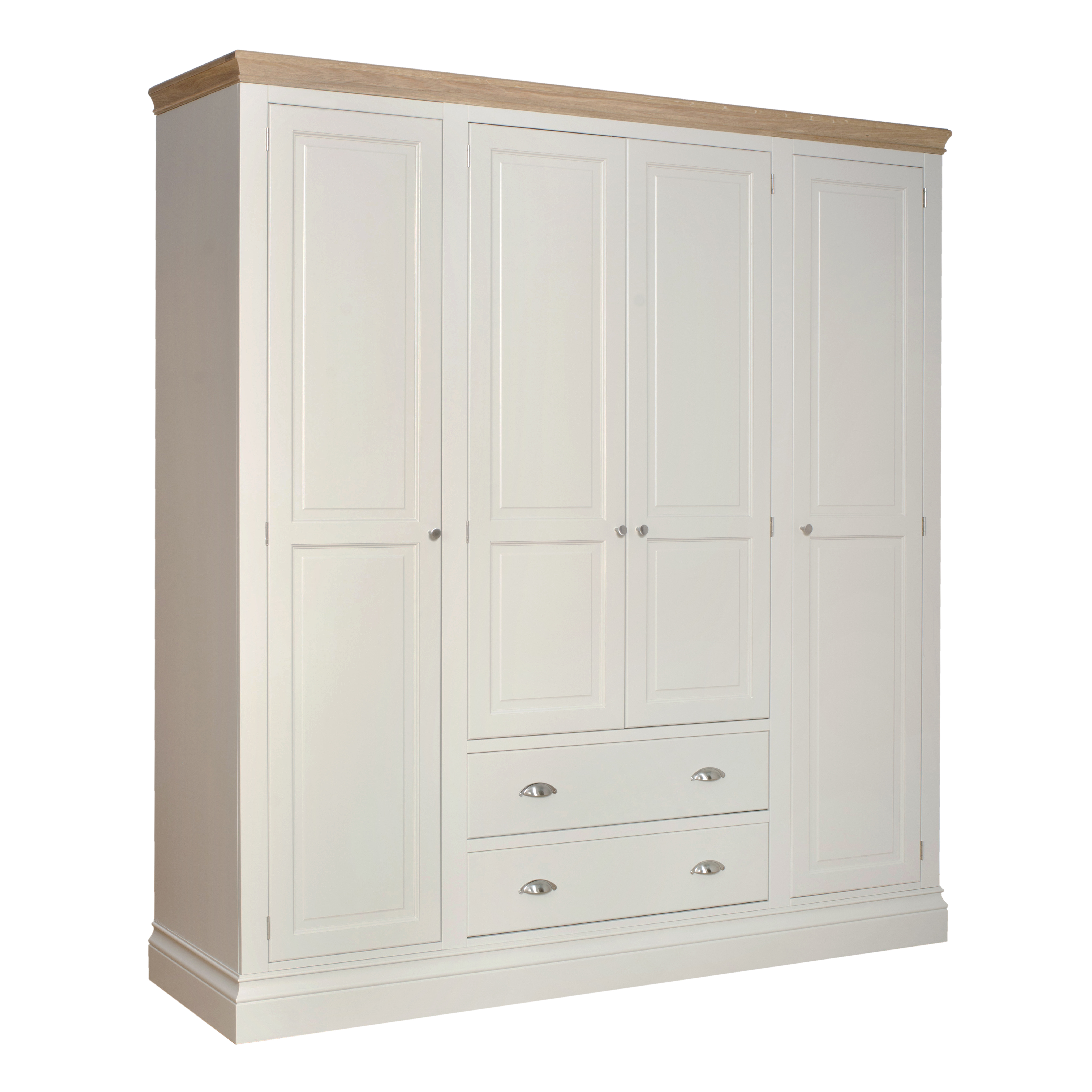 Lundy Painted & Oak Quad Wardrobe with 2 Drawers 110612303733255