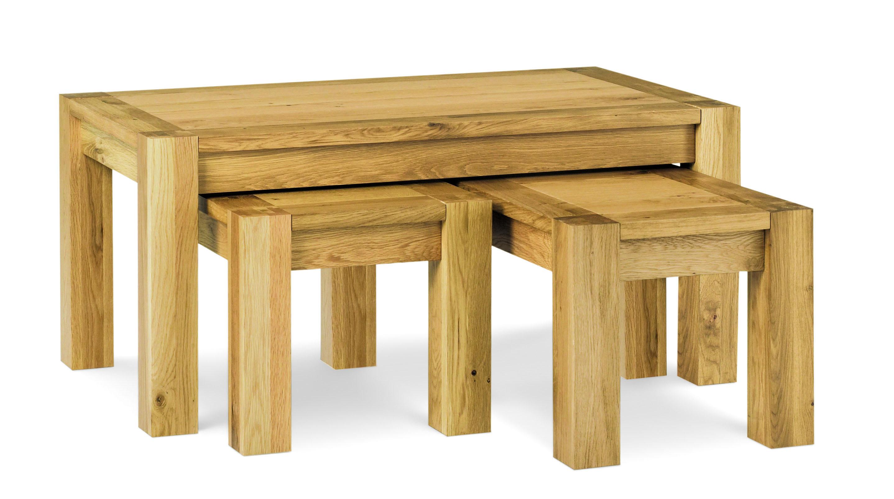 Lyon Oak Nest of Coffee Tables   Oak Furniture Solutions