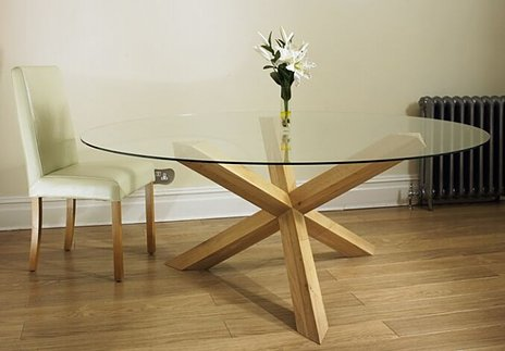 """Havana Glass Round Table On An Oak Pedestal - 4', 4'6"""", 5' and 6' - Blonde : 1"""