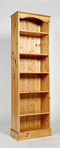 One Range Tall Narrow Bookcase - Waxed or Lacquered