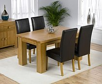 Palermo Oak Dining Table 150cm & 4 Monaco Leather Chairs