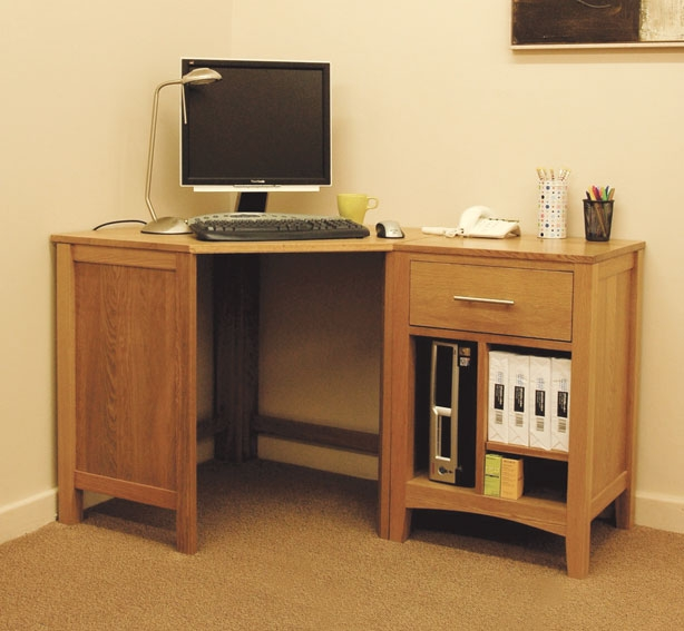 Hereford oak corner desk oak furniture solutions - Small oak corner computer desk ...