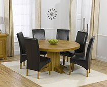 Zenia Oak 150cm Round Dining Table & 6 Rochelle Leather Chairs - Brown, Black or Cream