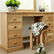 Windsor Oak Double Pedestal Dressing Table