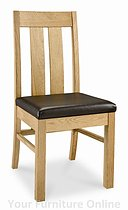 Lyon Oak Faux Leather Slatted Dining Chairs - Pair