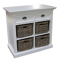 Belgravia Painted Small Buffet with 4 Rattan Baskets