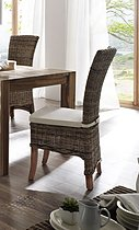 Belgravia Wing Back Rattan Dining Chairs with Cushion - Pair