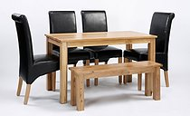 Lansdown Oak Dining Table & 2 or 4 Brown Rollback Dining Chairs & Bench