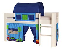 Kids World White Mid Sleeper Bed with blue printed accessories