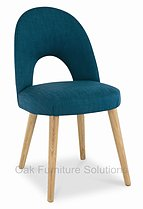 Oslo Oak Teal Fabric Upholstered Dining Chairs - Pair