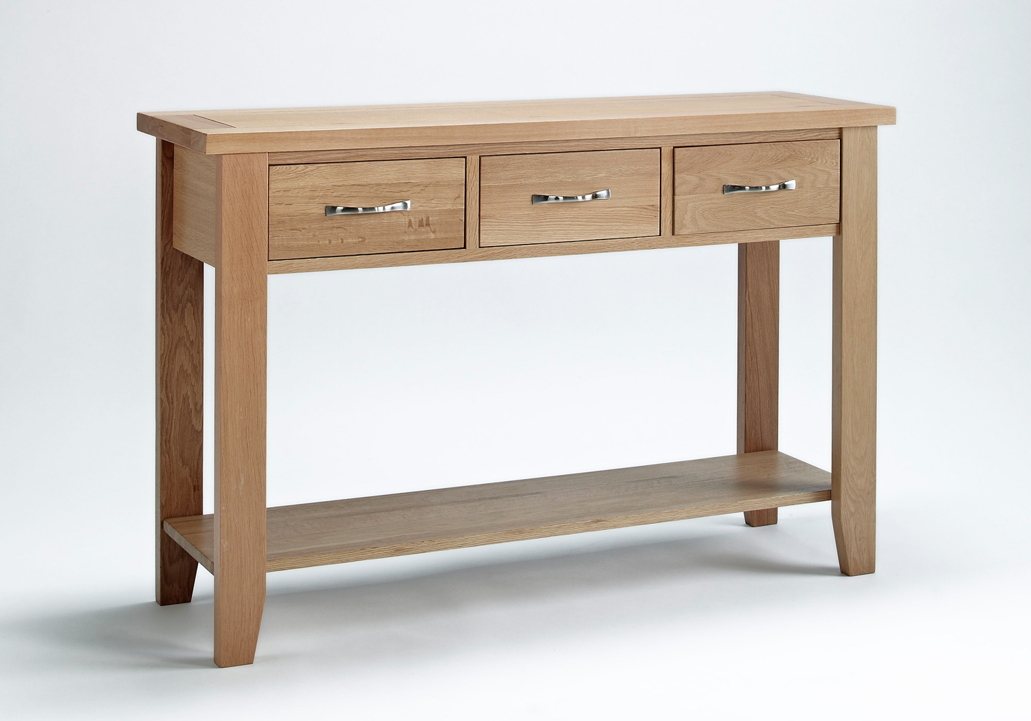 Sherwood Oak 3 Drawer Console Table Oak Furniture Solutions. Full resolution  photo, nominally Width 1500 Height 1049 pixels, photo with #412416.