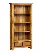 Indus Acacia Tall Bookcase with 2 Drawers